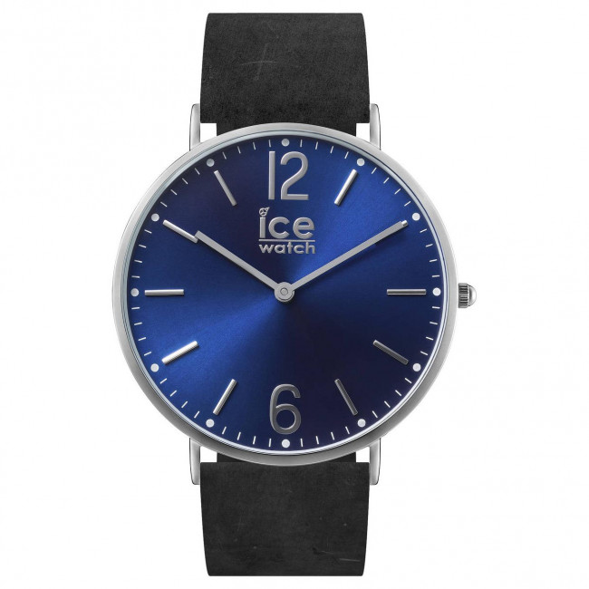 ice watch herren armbanduhr leder edelstahl schwarz blau. Black Bedroom Furniture Sets. Home Design Ideas