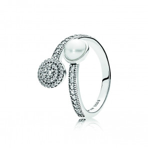 Pandora Open silver ring with white crystal pearl and clear cubic zirconia 191044CZ
