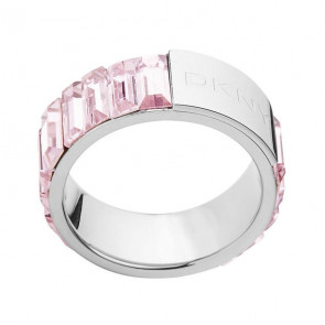 DKNY Damen-Ring Silber, Pink Glas NJ1822040