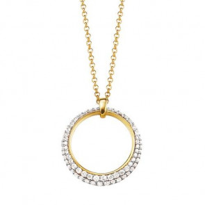 Esprit Collection Damen-Collier 925/-Sterling Silber, Vergoldet Gelb, Gold, Weiß mit Zirkonia 42cm ELNL92698D420