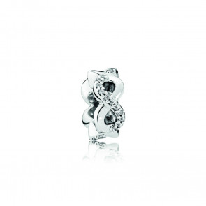 Pandora Infinity silver spacer with clear cubic zirconia 792101CZ