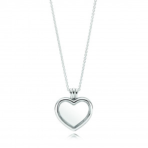 Pandora floating heart locket silver pendant and necklace 590544-60