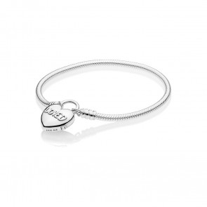 Pandora Moments Smooth Silver Padlock Armband, You Are Loved Heart 597806-19